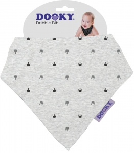 Chustka, śliniak, bandamka Dribble Bib Dooky - Light Grey Crowns