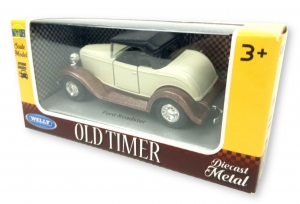 Samochód Auto 1:34 Old Timer Welly 00875 3+ Ford Roadster Beż