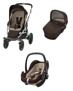 Wózek 3w1 głęboko-spacerowy Maxi-Cosi Mura 4 Plus Earth Brown +  fotelik samochodowy 0-13kg Maxi-Cosi Pebble Plus 2017 Earth Brown