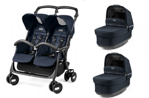 Wózek bliźniaczy Peg-Perego ARIA SHOPPER TWIN CLASSICO MOD NAVY + 2 Gondole Peg-Perego NAVETTA POP-UP LUXE BLUENIGHT